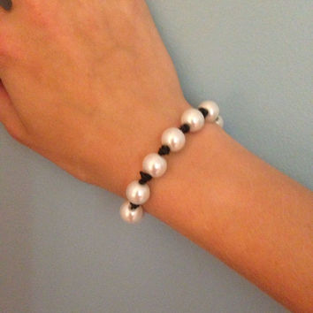 Knotted Pearl Bracelet w/ Leather Cord