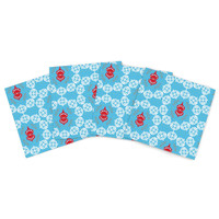 """Miranda Mol """"Frosted White"""" Blue Holiday Indoor/Outdoor Place Mat (Set of 4)"""