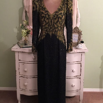 Stunning Ornate Beaded Gown, Gold & Black Silk Evening Dress, S, Long V Neck Gown w Open Back, Pageant Dress, Formal Gown, Black Tie Event