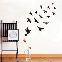 DCTOP Diy Black Flying Birds Vinyl Wall sticker For Kids Rooms Bedroom Decals Poster Wallpaper Wall Arts Classical Bird Stickers