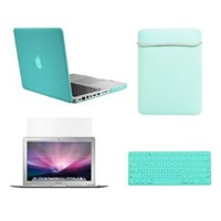 """TopCase Macbook Pro 13"""" 13-inch (A1278 / with or without Thunderbolt) 4 in 1 Bundle - Ultra Slim Light Weight Rubberized Hard Case Cover + Matching Color Soft Sleeve Bag + Silicone Keyboard Cover + LCD HD Clear Screen Protector - NOT FOR RETINA DISPLAY - w"""