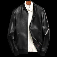 Gendry Genuine Black Aviation Men Sheepskin Real Leather Coat by Inland Leather Co.