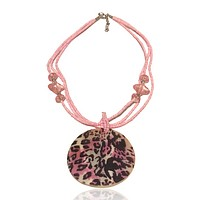 Abalone Beaded Statement Graphic Necklace Pink Animal