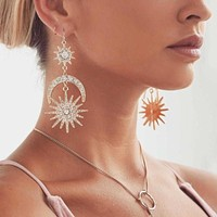 Ladies BIG BOLD Luxurious Sun Moon Stars Rhinestone Drop Earrings