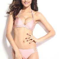 Light Pink Push Up Strappy String Halterneck Bikini