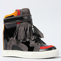 The Topeka Sneaker in Concrete Red and Yellow