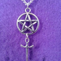 Vintage Silver Charm Pentagram Sword Necklace Choker Chain Collar Statement Necklace Pendant Jewelry Fashion Women Gift DIY B183