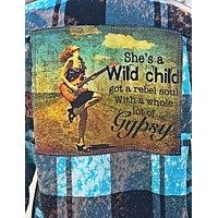 She's a Wild Child Flannel- Turquoise Angry Minnow Vintage
