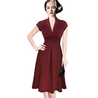 New Womens Summer Sexy Vestido Elegant Vintage Fashion Pinup Retro Rockabilly V-neck Ruched Party Cocktail Pleated Wiggle Dress
