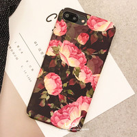 Beautiful Rose Peony Flower Case For iphone 6 Case For iphone 6S 7 7 Plus Phone Cases Cute Cartoon Floral Back Cover Hard Capa