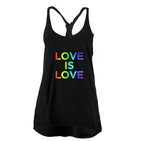 LGBT Gay Pride Love Is Love Juniors Twist Tank Top