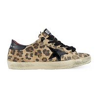GOLDEN GOOSE SUPER STAR LEOPARD PRINT SNEAKERS