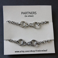 Partners in crime matching Best Friends Bracelets - Silver Handcuffs Bracelet, handcuffs charm bracelet, love bracelet handchain BFF jewelry