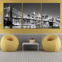 3 Piece Modern Wall Painting New York Brooklyn Bridge Home Decorative Art Picture Paint On Canvas Prints Unframed Unframed