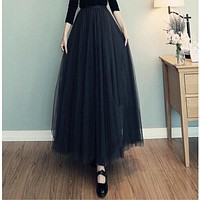 New High Waist Mesh Elegant Skirt Long Skirts For Women Black Color Autumn Winter A-line Long Skirt For Female Party Skits