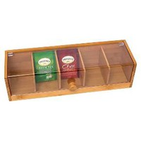 Lipper Bamboo & Acrylic 5-Section Tea Box : Target
