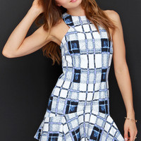 Finders Keepers Take Me Out Blue and Ivory Print Dress
