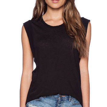 James Perse Curve Hem Muscle Tank in Black