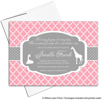 Giraffe baby shower invitations for girls | pink and gray baby shower invites | safari theme baby shower | printable or printed - WLP00724