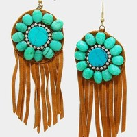 Turquoise Suede Fringe Earrings
