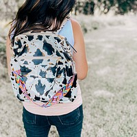 Cow Print Faux Leather Backpack