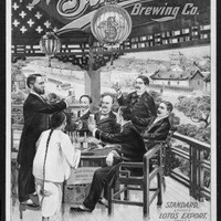 Vintage Beer Hall poster Metal Sign Wall Art 8in x 12in Black and White