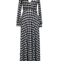 Black Houndstooth Print V- Neckline Long Sleeve Wrap Dress