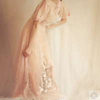 1920's SILK Embroider Sheer WEDDING GOWN