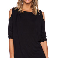 Michael Stars 3/4 Sleeve Open Shoulder Tunic in Black