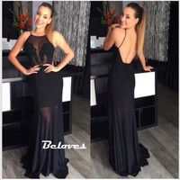 Black Chiffon Sheath Long Formal Gown With Open Back from Beloves
