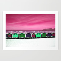 Wooden Houses on the Beach Art Print by Aloke Design