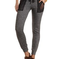 Marled French Terry Jogger Pants by Charlotte Russe - Charcoal Combo