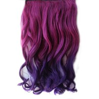 Nsstar™Newfangled Fashionable Multicolor Gradually Varied One Piece Straight Synthetic Clip-on Hair Extension 60cm Length,Multiple Choice with 1PCS Free Cup Mat Color Random