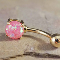 Pink Opal Gold Belly Button Ring