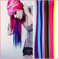 Long Solid Color Snythetic Clip On In Hair Extensions Highlights