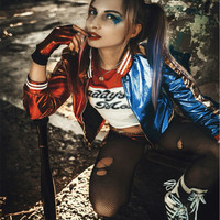 Halloween Gift Harley Quinn Cosplay Costumes Embroided Jacket Top Shorts Gloves for Women Hot-sale Suicide Squad Adult Costume