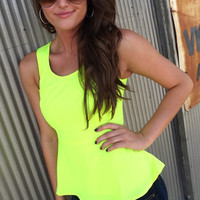 Neon Green Peplum Top | The Rage