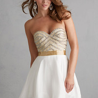 Night Moves 7203 - Ivory Strapless Sequin Homecoming Dresses Online