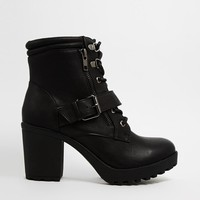 New Look   New Look Cookie Black Lace Up Boots at ASOS