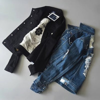 Fashion 2016 Trending Fashion Big Hole Ripped Destroyed Distressed Jeans Denim  Sweater Cardigan Coat Jacket Outerwear _ 9483