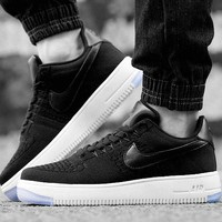 Originals Nike Air Force One 1 Flyknit Low Black / White Running Sport Casual Shoes '07 817419-004 Sneakers