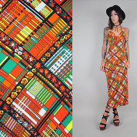 neon PLAID vtg 70's MAXI Sundress floral Psychedelic ITALIAN cut out bohemian hippie