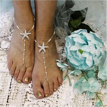 STARFISH barefoot sandals wedding - silver