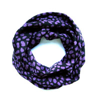 Childs Cheetah Scarf Kids Infinity Scarf Black Purple Double Loop Scarf Girls Scarf Cute Toddler Scarf Holiday Gift Ready to Ship