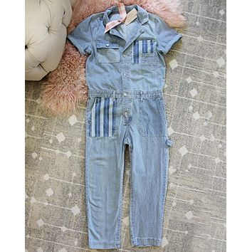 Rosie Coverall Utility Jumpsuit in Railroad