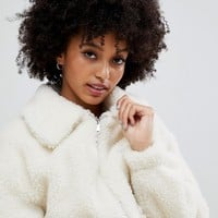 New Look teddy borg coat in white | ASOS