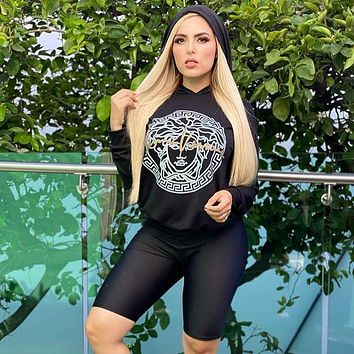 Versace Women Fashion Long sleeve Hooded clothing Shorts Two-piece