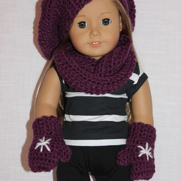 beret style crochet slouch hat with infinity scarf, purple, snowflake doll mittens,18 inch doll clothes American girl Maplelea