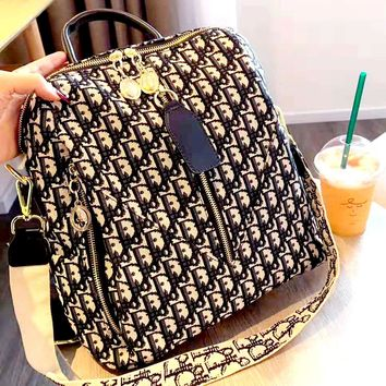 Dior Tide brand D letter embroidery female models wild large capacity shoulder bag backpack