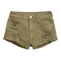 Twill Shorts Trashed - from H&M
